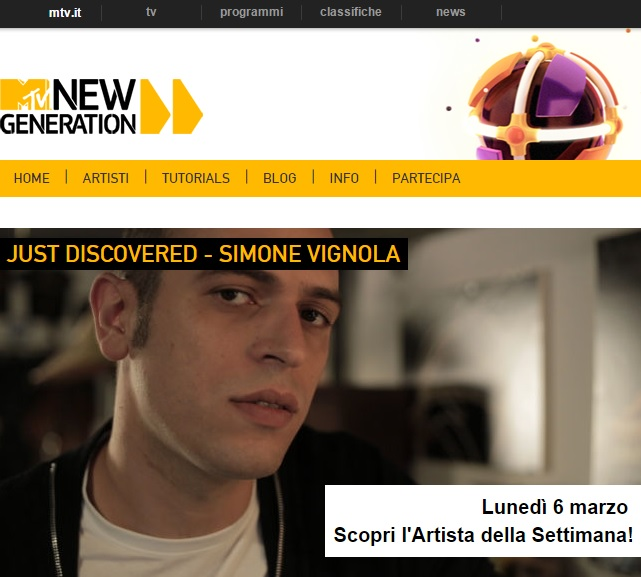SIMONE VIGNOLA MTV NEW GENERATION